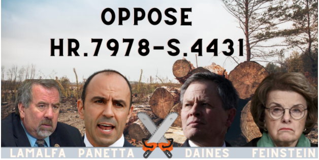 Sen. Feinstein and Rep. Panetta join Republicans in Disasterous Logging Bill